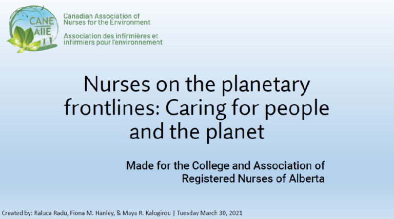 Nurses on the planetary frontlines: Caring for people and the planet