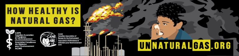 The group gathered to launch Unnatural Gas, a public awareness campaign by the Canadian Association of Physicians for the Environment and Canadian Association of Nurses for the Environment about the climate and health damage from natural gas.