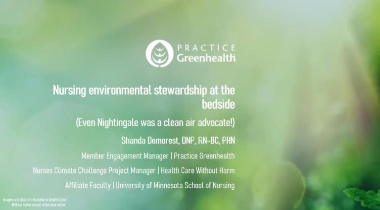 Nursing Environmental Stewardship at the Bedside